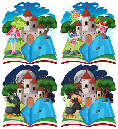 Set of fairy tales and castle tower on pop up book cartoon style on white background illustration Ilustracja