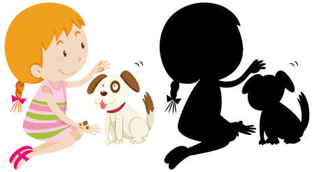 Girl playing with cute dog with its silhouette illustration Ilustracja