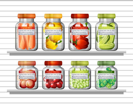Set of different vegetables in different jars and canned foods on wall shelves illustration Ilustracja