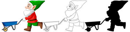 Gnome in santa costume in color and outline and silhouette in cartoon character on white background illustration