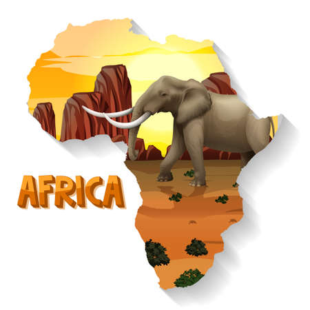 Wild African animal on the map illustration Ilustracja
