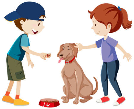 Two kids practicing and feeding their dog cartoon isolated illustration