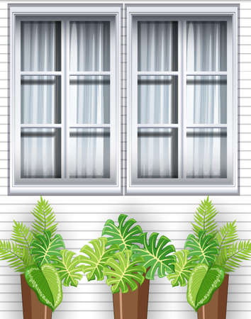Green plants in front of the house illustration