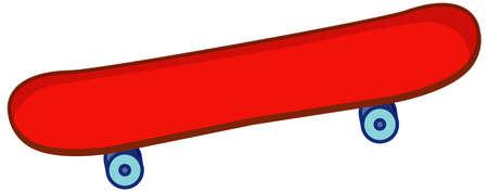 Red skateboard in cartoon style isolated on white background illustration Illustration