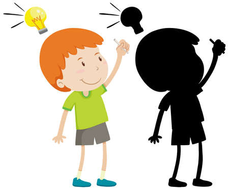 Boy thinking with idea lamp in color and silhouette illustration Ilustracja