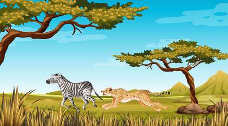 Wild animal running in nature illustration