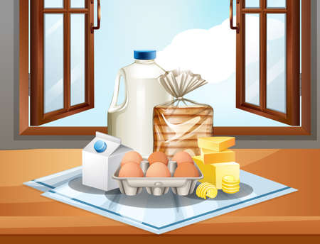 Group of baking ingredients such as milk butter and eggs on window background illustration