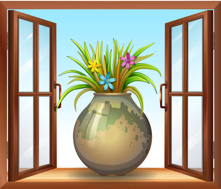 Flower in vase near window illustration