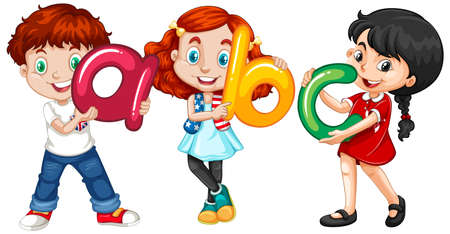Children holding english letters illustration