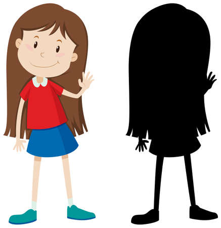 Cute long hair girl in colour and silhouette illustration