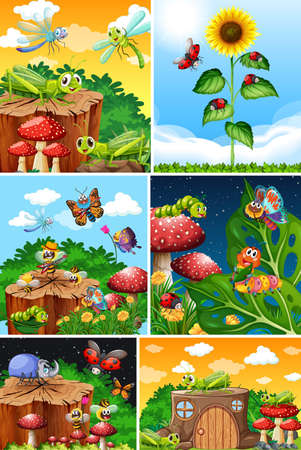 Set of different insects living in the garden background illustration