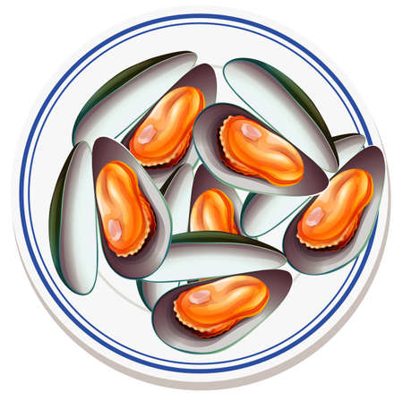 Mussels on the plate isolated illustration