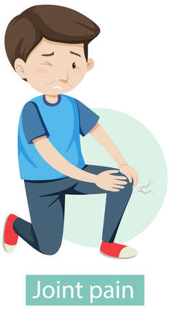 Cartoon character with joint pain symptoms illustration