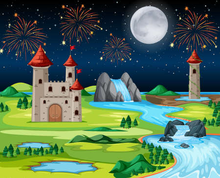 Theme night castle park with fire work and balloon landscape scene  illustration Ilustracja