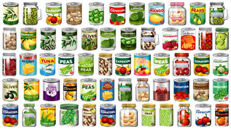 Set of different canned food and food in jars isolated illustration Zdjęcie Seryjne