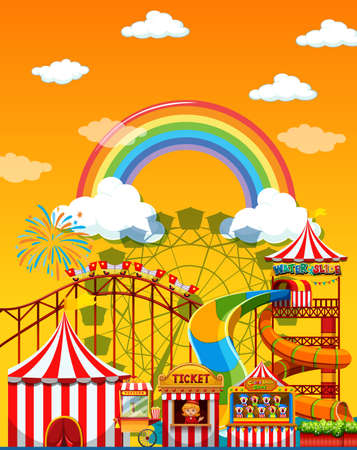 Amusement park scene at daytime with rainbow in the sky illustration Zdjęcie Seryjne