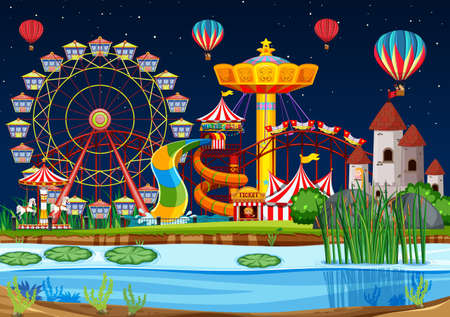Amusement park with swamp scene at night with balloons illustration