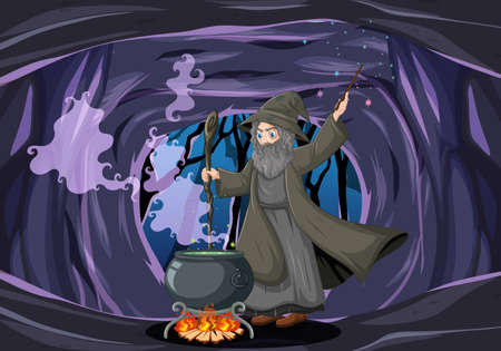 Wizard or witch with magic pot on dark cave background illustration