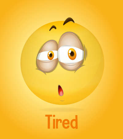 Tired emotional yellow face with tired text on yellow background illustration Ilustração