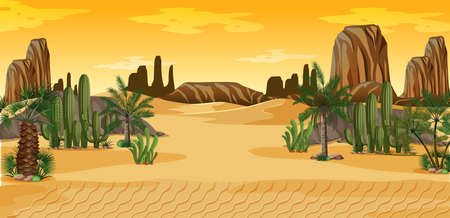 Desert with palms and cactus nature landscape scene illustration