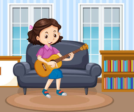 Girl playing guitar in living room scene illustration