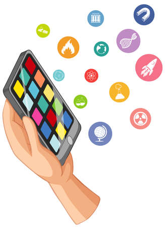 Hand holding smart phone with education icon isolated illustration