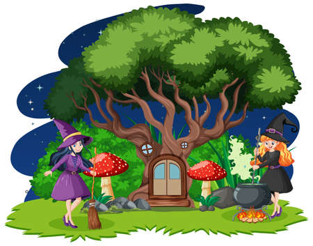 Young beautiful witches with tree house cartoon style isolated on white background illustration