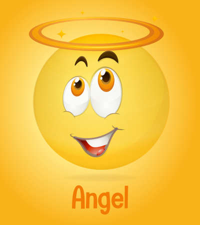 Angel face emoji with its description on yellow background illustration