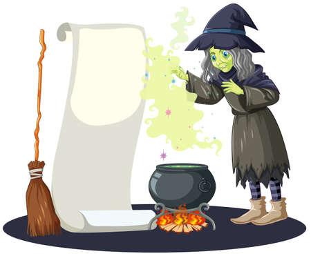 Ugly witch with black magic pot and broomstick and blank banner paper cartoon style isolated on white background illustration
