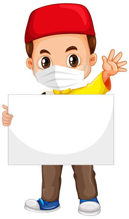 Cute young boy cartoon character holding blank banner illustration