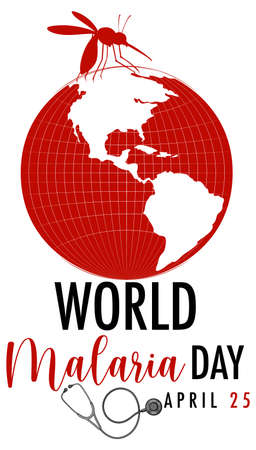 World Malaria Day logo or banner with mosquito sign illustration