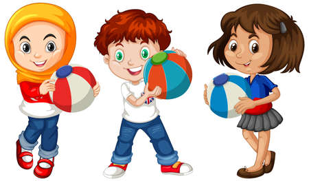 Different three kids holding colorful ball illustration Ilustración de vector