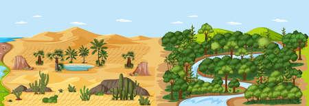 Forest nature landscape scene and desert with oasis landscape scene illustration