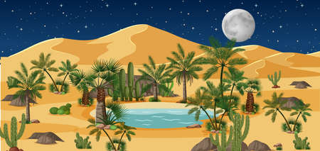 Desert oasis with palms and catus nature landscape at night scene illustration Illusztráció