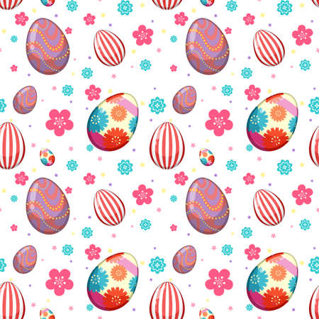 Seamless pattern of easter egg and colorful flower illustration Çizim