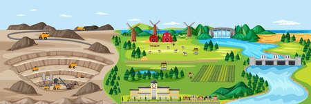 Landscape of coal mine and agriculture land illustration