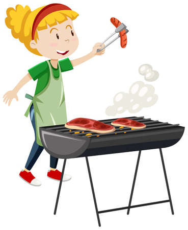 Girl cooking grill steak cartoon style isolated on white background illustration