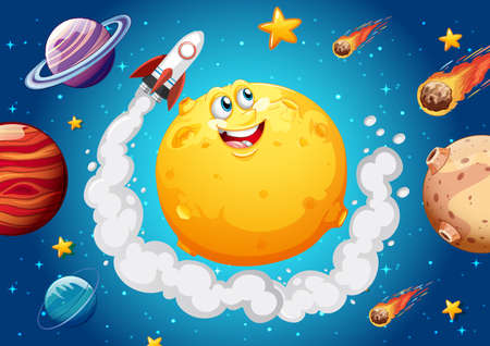 Moon with happy face on space galaxy theme background illustration Ilustração