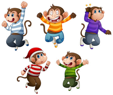Four monkey wear t-shirt in jumping pose isolated on white background illustration