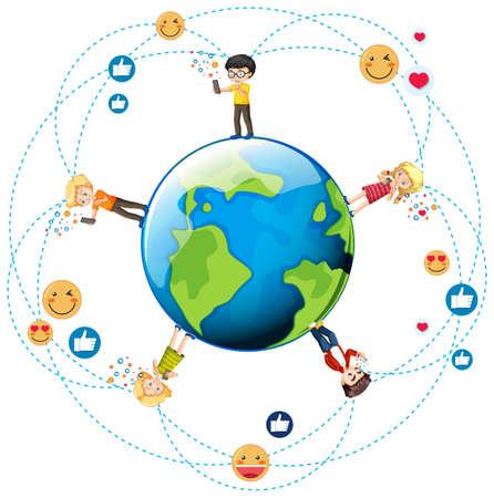 Children with social media elements on earth globe illustration 矢量图像