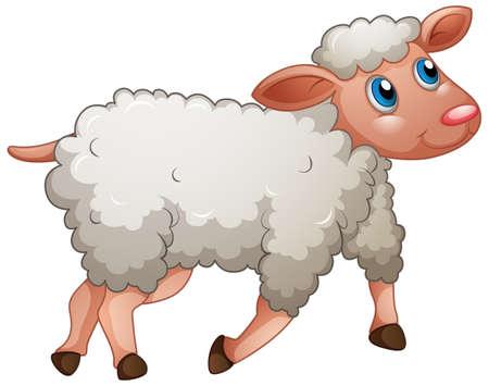 A cute sheep on white background illustration Ilustración de vector