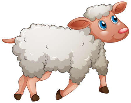 A cute sheep on white background illustration Vetores