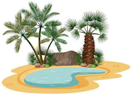 Desert landscape with nature tree elements on white background illustration Vettoriali