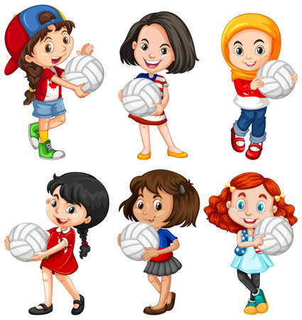 Cute young girl cartoon character illustration