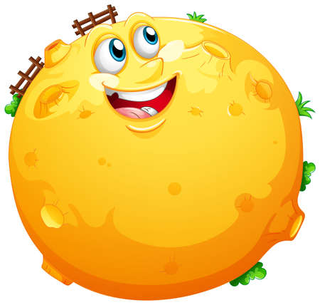 Yellow moon with happy face in cartoon character on white background illustration Ilustração
