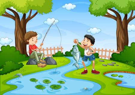 Two boys go fishing in the stream scene illustration
