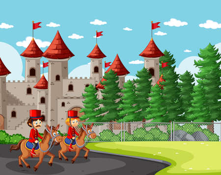 Fairytale scene with castle and soldier royal guard scene illustration 矢量图像