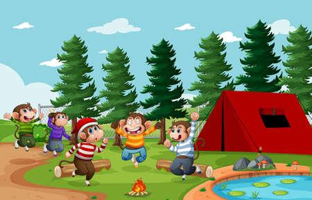 Five little monkey jumping in the park scene illustration