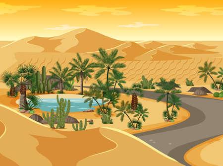 Desert oasis with long road landscape scene illustration Vettoriali