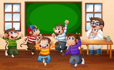 Five little monkeys jumping in the classroom with a doctor illustration